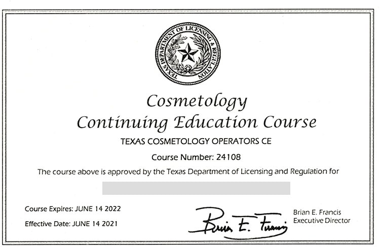CE course for cosmetology in Texas.