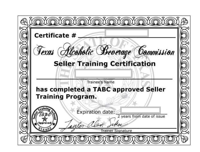 Example of Texas Alcohol Beverage Certificate.
